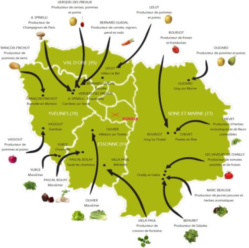 Cartographie des producteurs de fruits et légumes d'Ile-de-France recensé chez Pomona Terre d'Azur